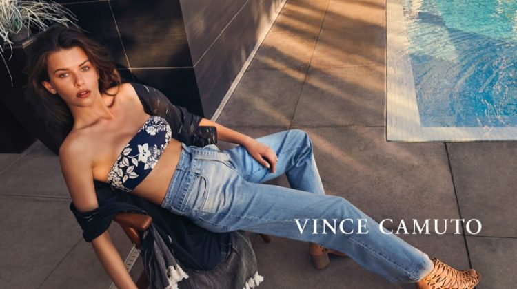 Model Georgia Fowler rocks denim in Vince Camuto spring-summer 2019 campaign