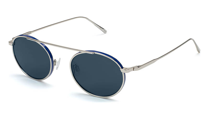 Warby Parker Corwin Sunglasses in Polished Silver with Matte Blue and Vintage Brown Lenses $195