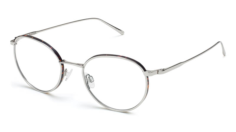 Warby Parker Darin Glasses in Polished Silver with Whiskey Tortoise Matte $195