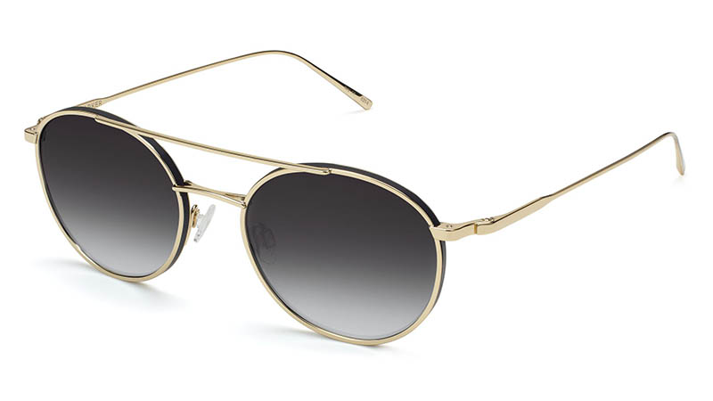 Warby Parker Harrison Sunglasses in Polished Gold with Jet Black Matte and Grey Gradient Lenses $195