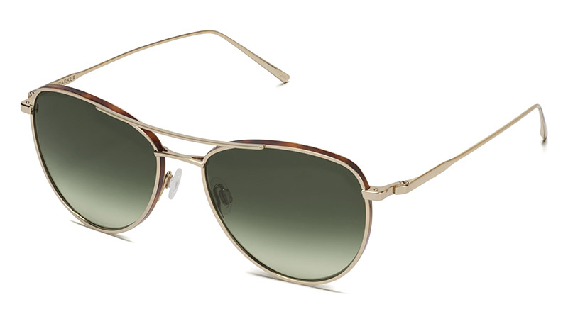 Warby Sanaa Glasses in Polished Gold with Oak Barrel $195