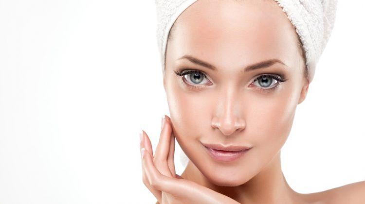 Beautiful Woman Clear Skin with Bath Towel