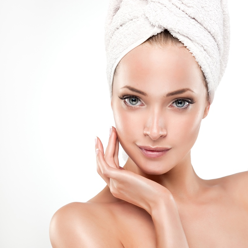 Beautiful Woman Clear Skin with Bath Towel
