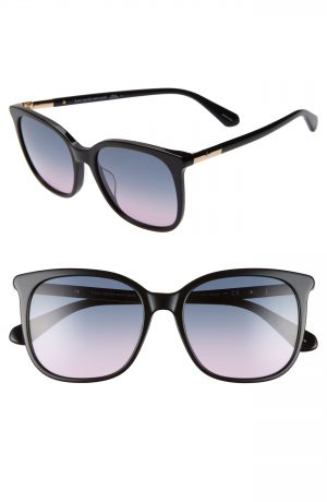 Women's Kate Spade New York Caylin 54Mm Gradient Square Sunglasses - Black