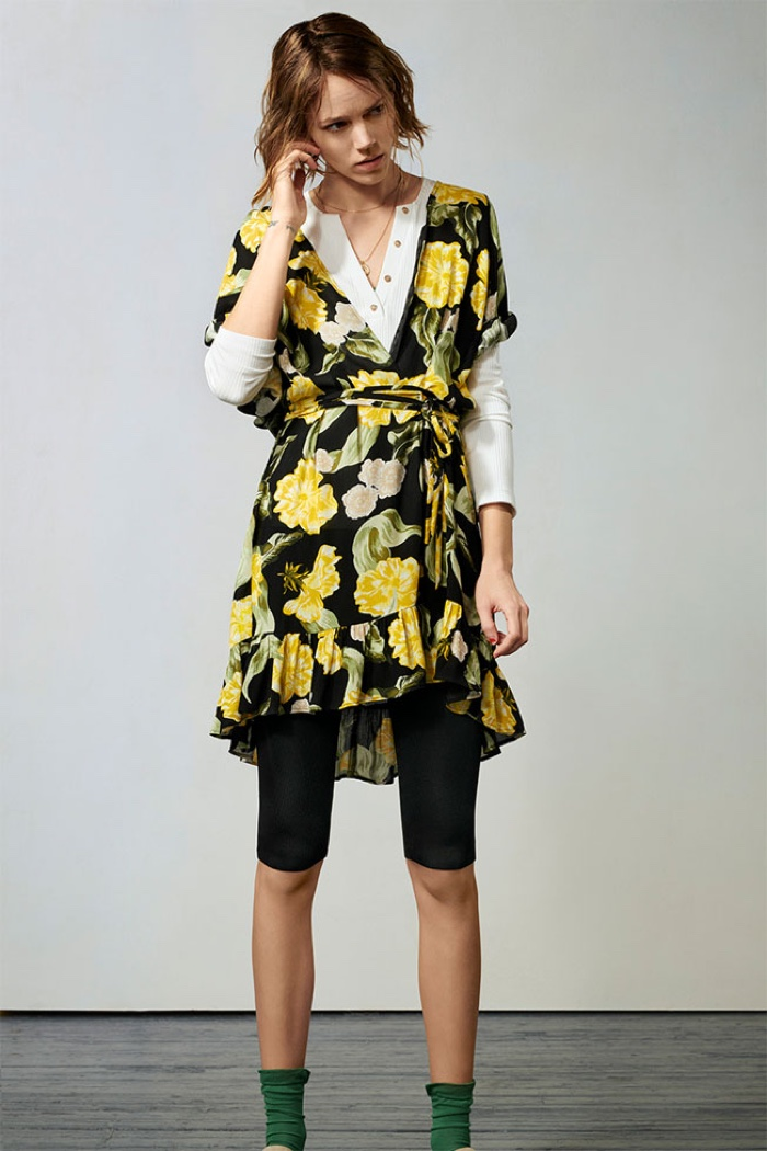 Zara Floral Print Dress, Ribbed T-Shirt with Buttons and Cropped Leggings