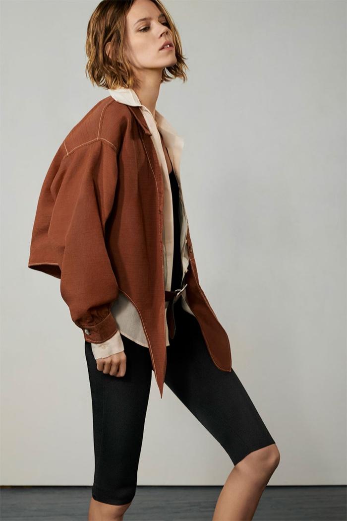 Model Freja Beha Erichsen wears Zara asymmetrical jacket