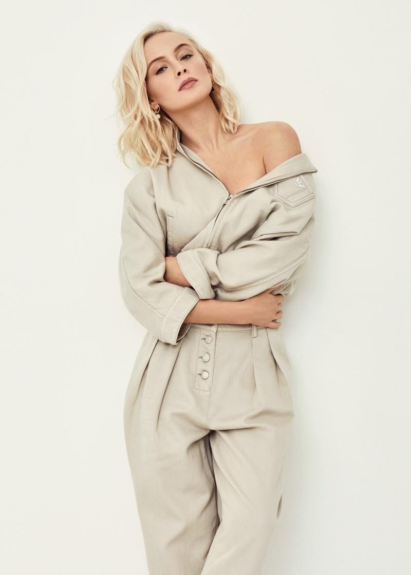 Zara Larsson poses in a minimal beige look