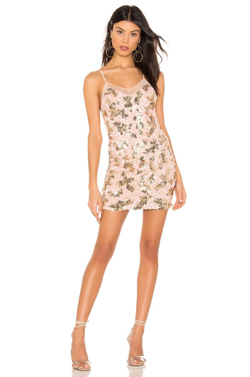 h:ours Nolita Mini Dress in Pink & Gold $248