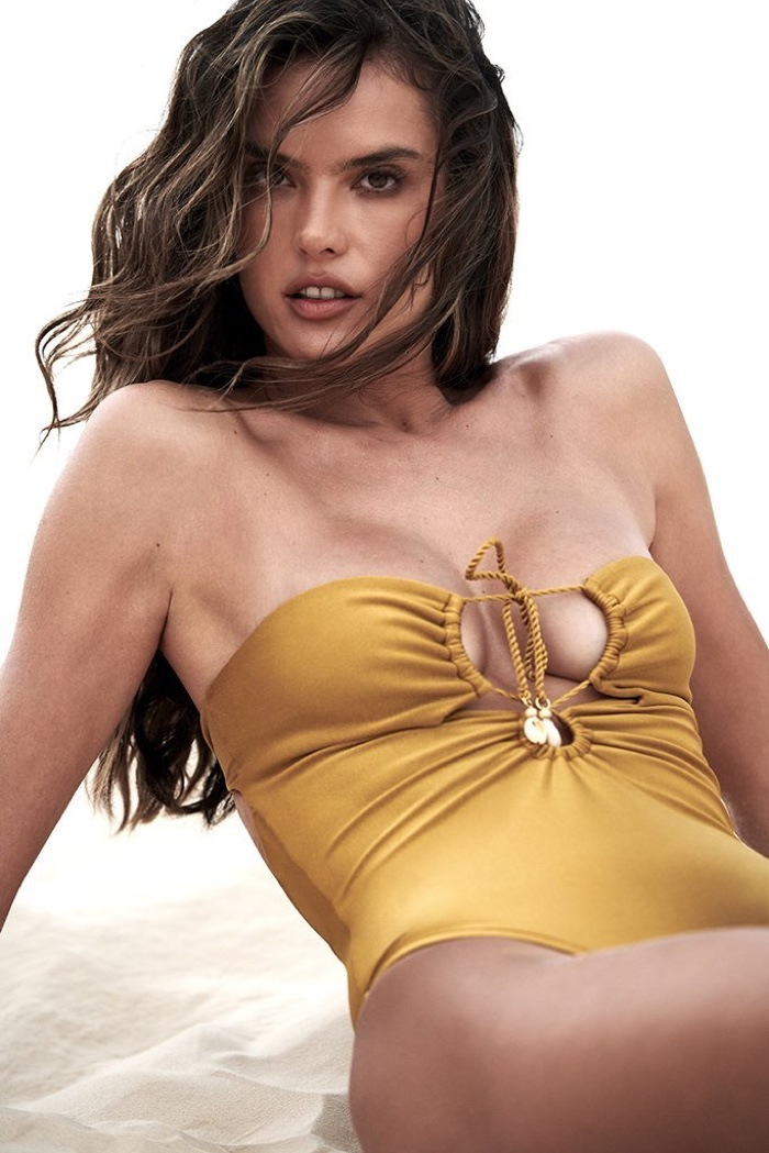 Supermodel Alessandra Ambrosio poses in bandeau top swimsuit from GAL Floripa