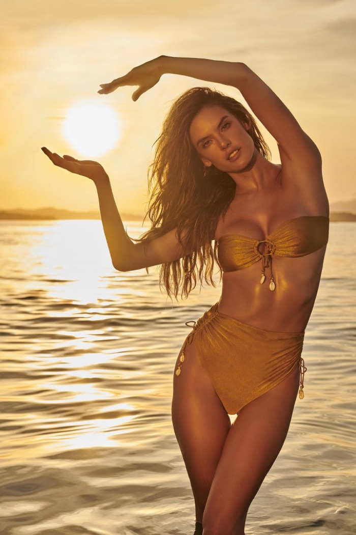 Looking bronzed, Alessandra Ambrosio models GAL Floripa swimsuit
