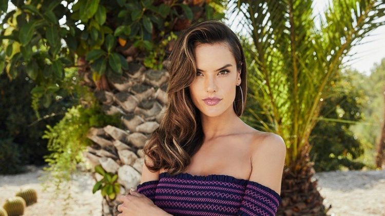Supermodel Alessandra Ambrosio wears off-the-shoulder top from Lascana