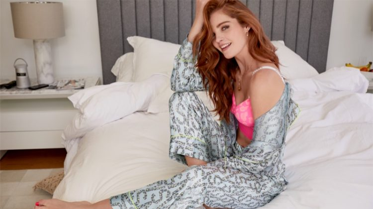 Alexina Graham poses in the lingerie brand's pajama styles. Photo courtesy Victoria's Secret