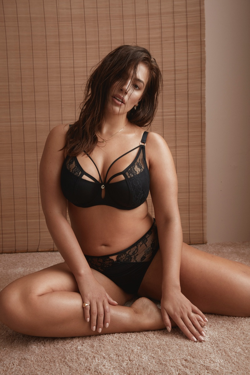 Curvy model Ashley Graham wears black lingerie from Addition Elle