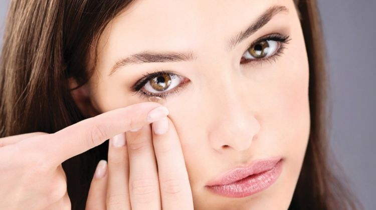Attractive Woman Wearing Contact Lenses