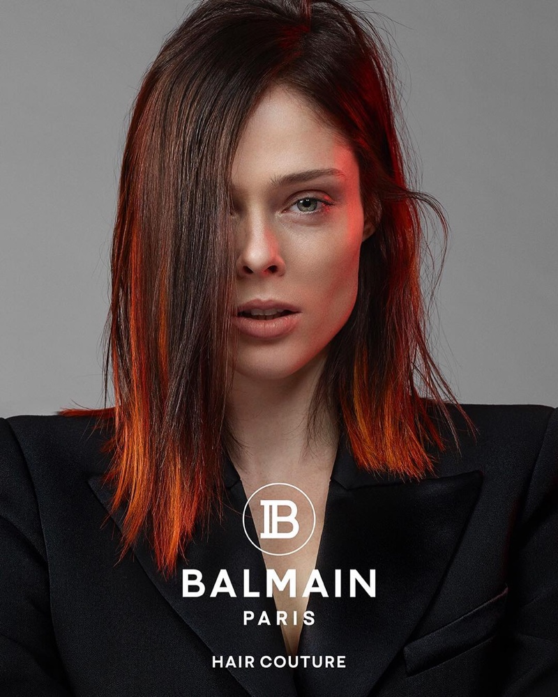 Coco Rocha shows off a fiery red hairstyle for Balmain Hair Couture spring-summer 2019 campaign