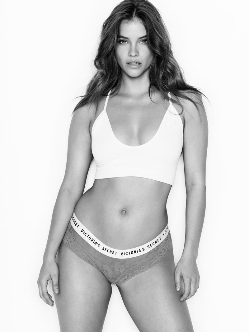 Barbara Palvin poses in Victoria's Secret underwear designs