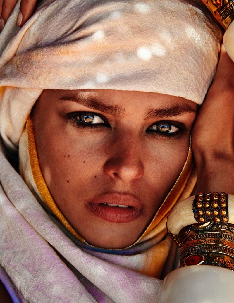 Birgit Kos Poses in Nomadic Fashions for Vogue Germany