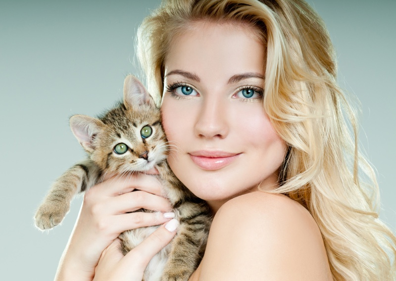 Blonde Woman Posing with Cat
