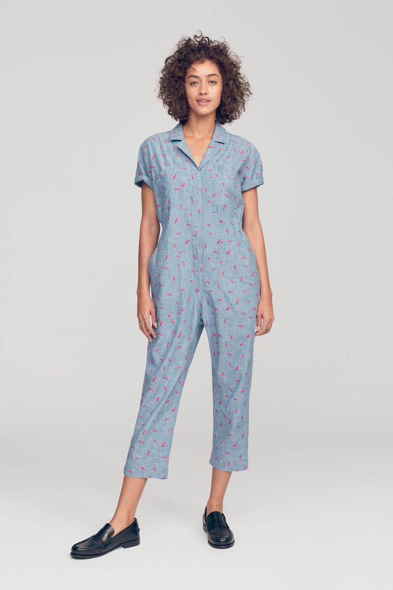 Bonobos Riviera Jumpsuit in Chambray Caliente Peppers $148