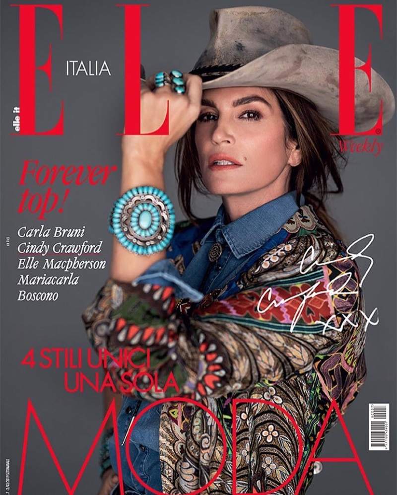Cindy Witmer Designs In 2019: Cindy Crawford ELLE Italy 2019 Cover Fashion Editorial