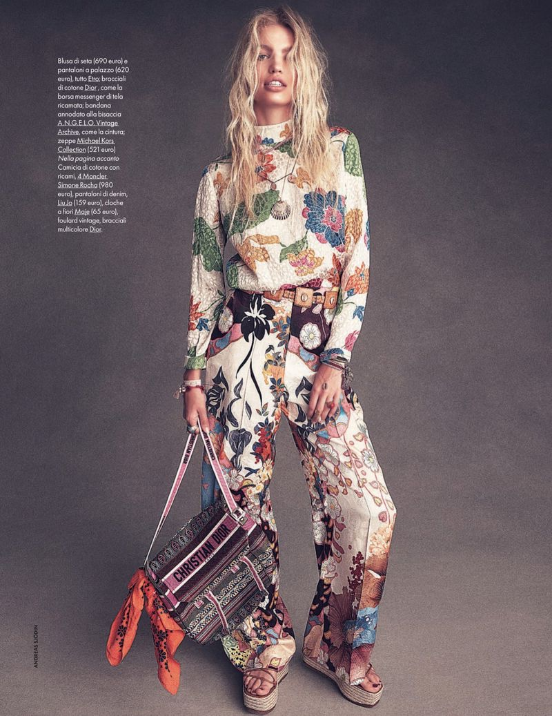 Daphne Groeneveld Channels Flower Power for ELLE Italy