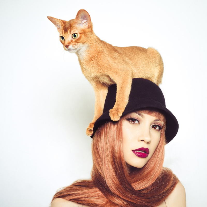 Fashion Model with Cat on Head Wearing a Hat