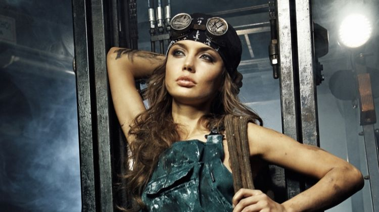 Female Industrial Worker Wearing Fashionable Overalls and Goggles