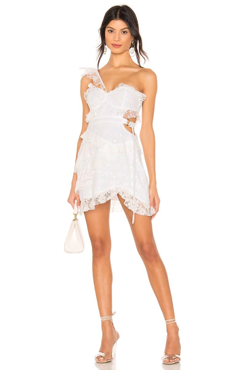 For Love & Lemons Lucien One Shoulder Dress $268