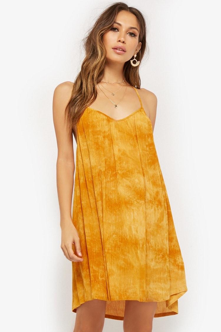 Forever 21 Tie-Dye Y-Back Mini Dress in Mustard $22.90
