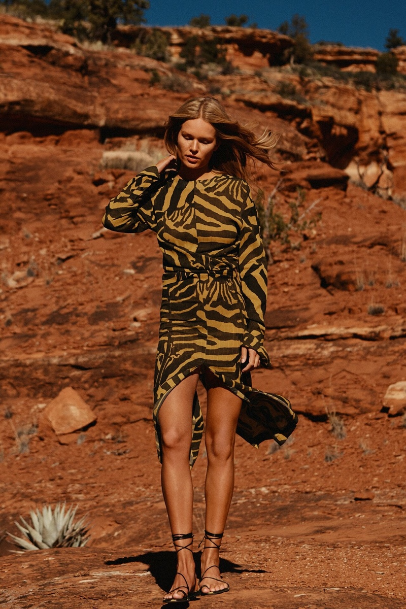 Anna Ewers wears zebra print dress from H&M Studio spring-summer 2019 collection