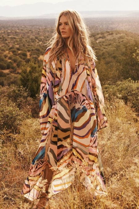 Anna Ewers poses in printed caftan from H&M Studio spring-summer 2019 collection