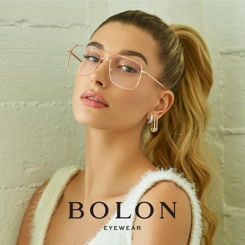 Model Hailey Baldwin wears Bolon Eyewear Charlie style
