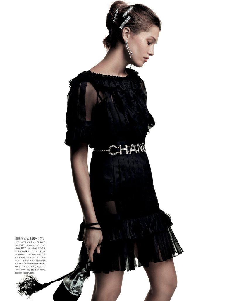 Hana Jirickova Wears Elegant Black Looks for Vogue Japan