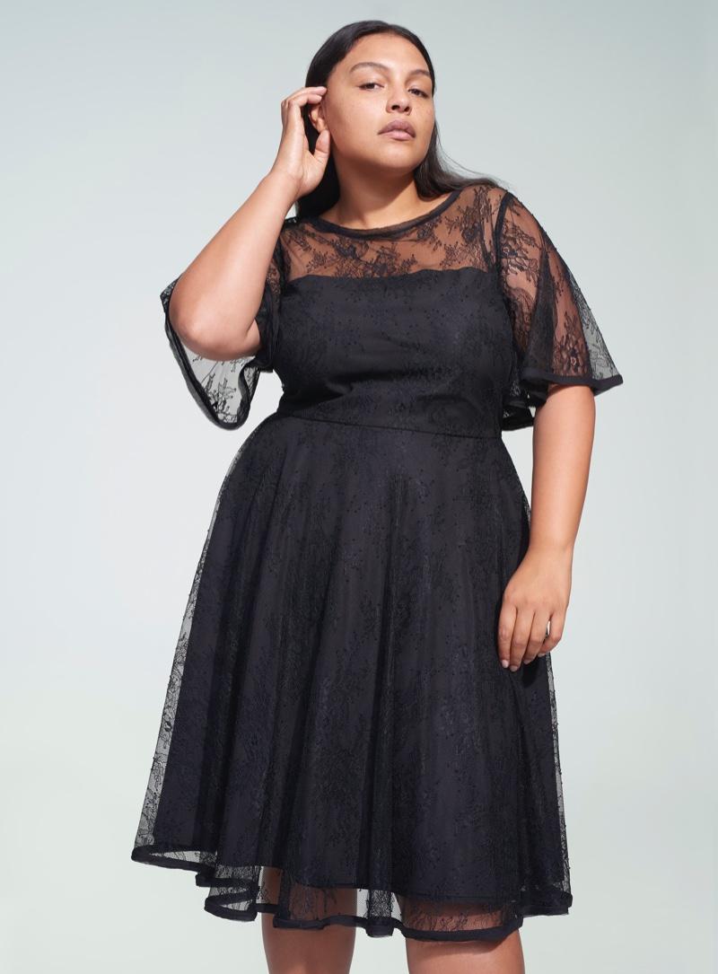 Jason Wu x ELOQUII Flutter Sleeve Lace Dress $129.95