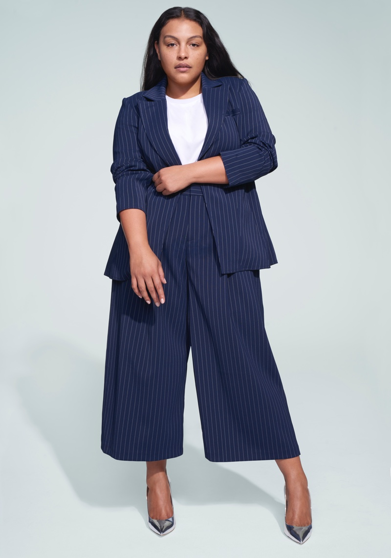 Jason Wu x ELOQUII Pinstripe Belted Blazer $119.95 and Pinstripe Culotte Trouser $89.95