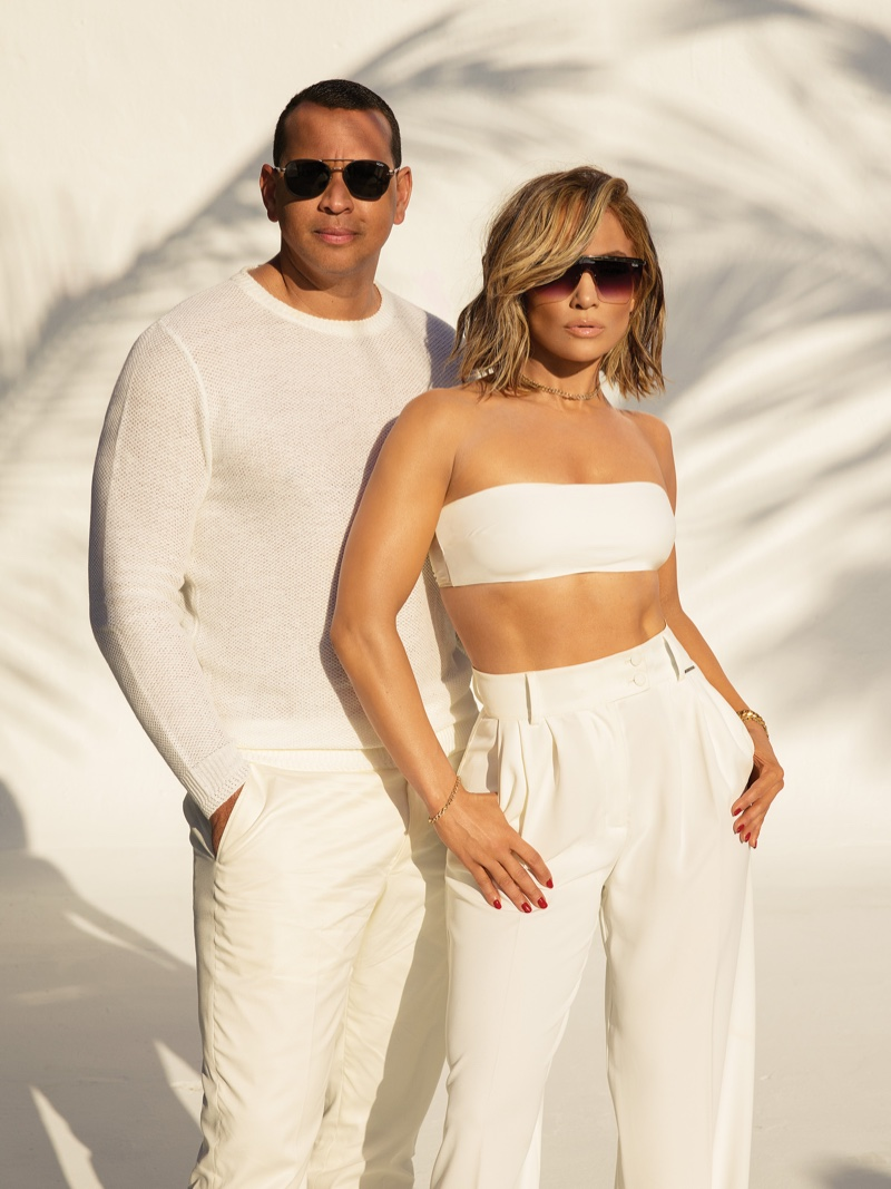 Dressed in white, Jennifer Lopez and Alex Rodriguez front Quay Australia sunglasses campaign