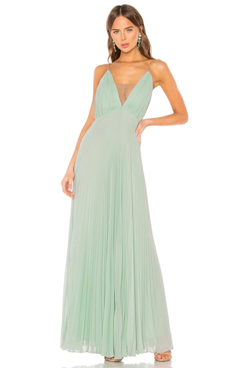 Jill Jill Stuart Crinkle Chiffon Gown in Mint $378