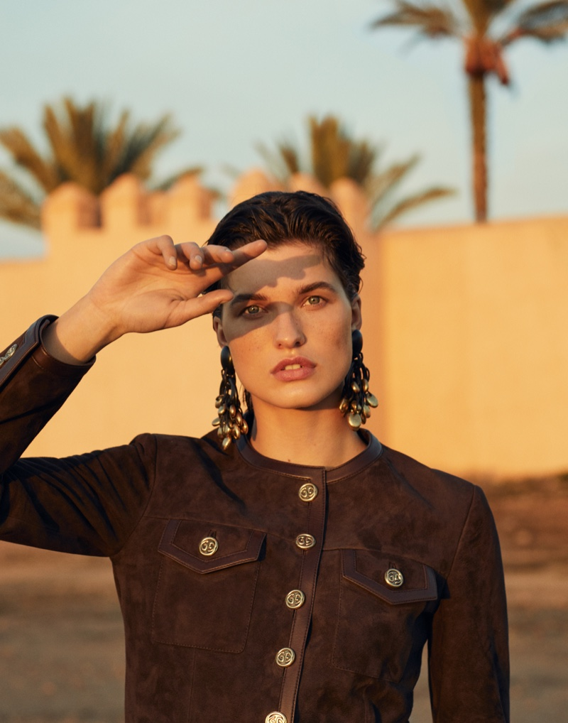 Julia Van Os Poses in Biker Styles for Vogue Arabia