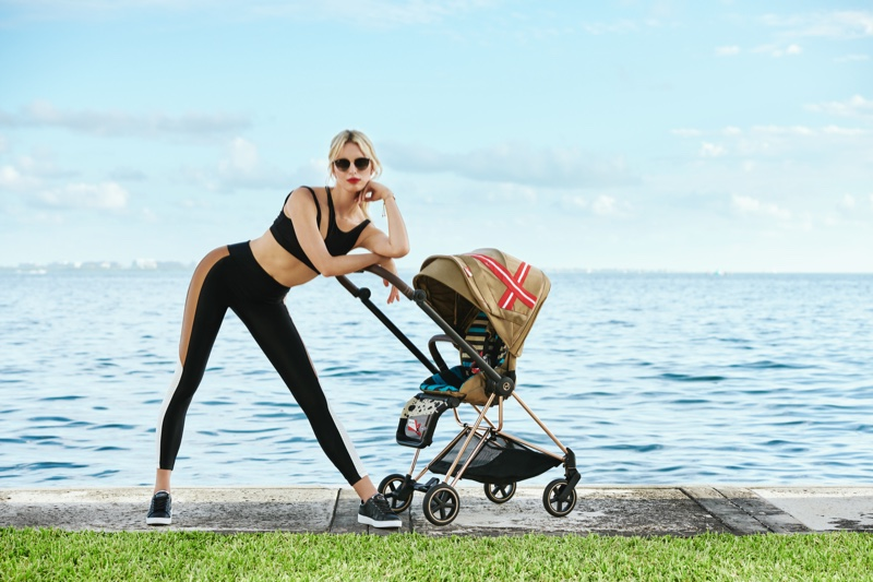 Karolina Kurkova collaborates with Cybex on a capsule collection of baby accessories