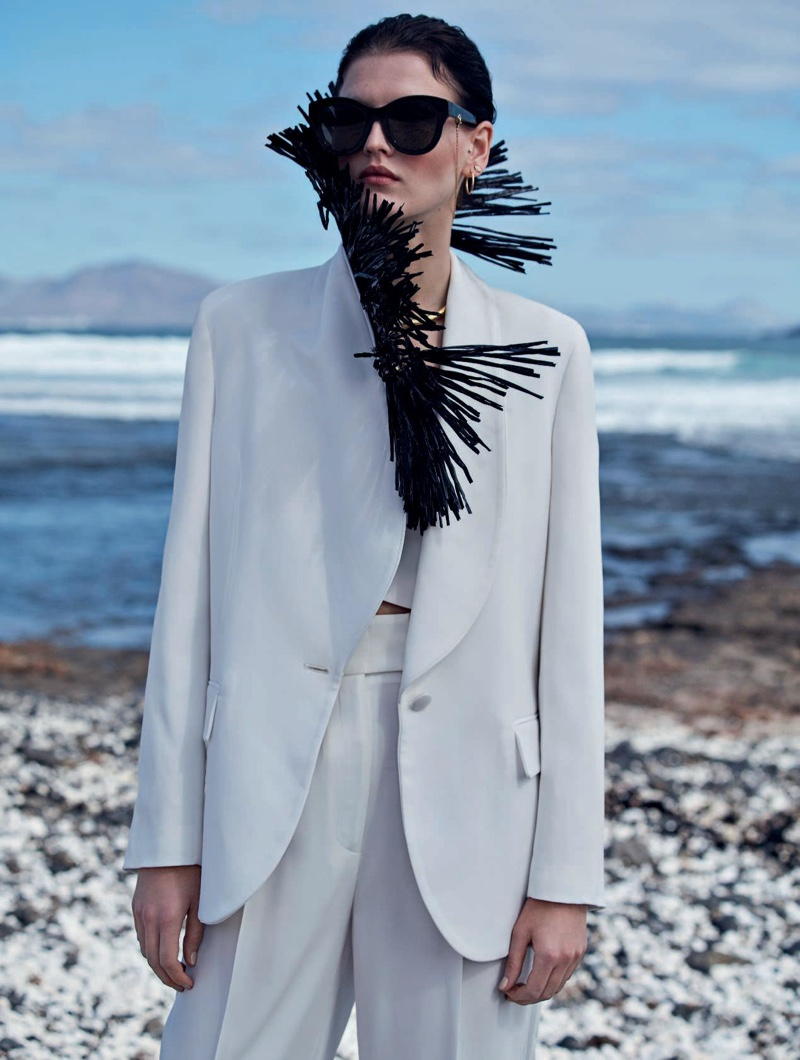 Katlin Aas Poses in Statement Styles for Marie Claire Italy