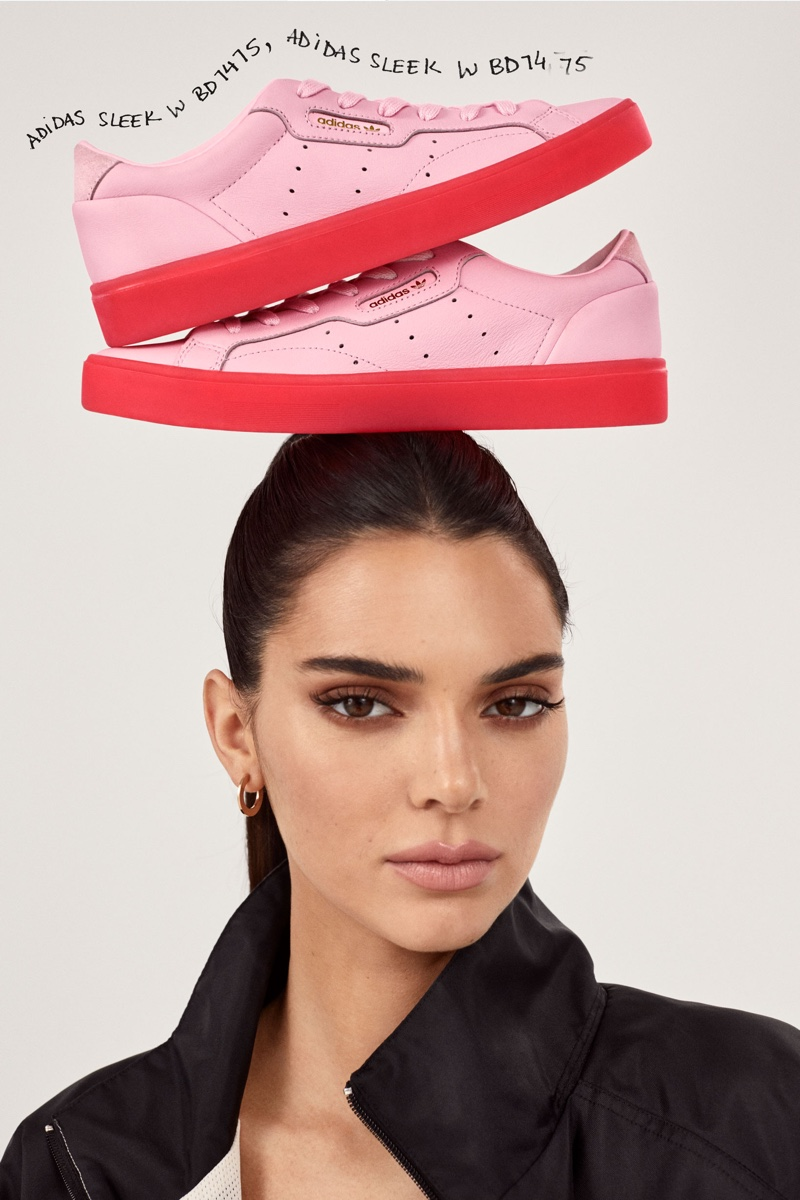 Kendall Jenner poses with adidas Originals Sleek sneakers in pink