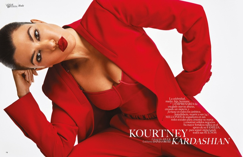 Suiting up, Kourtney Kardashian wears an all-red outfit