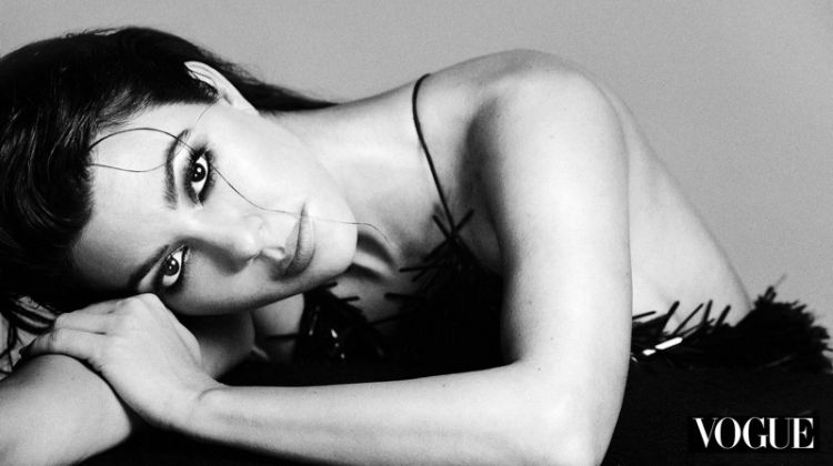 Photographed in black and white, Kourtney Kardashian poses for An Le