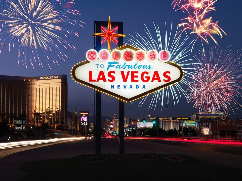 Las Vegas Sign Fireworks