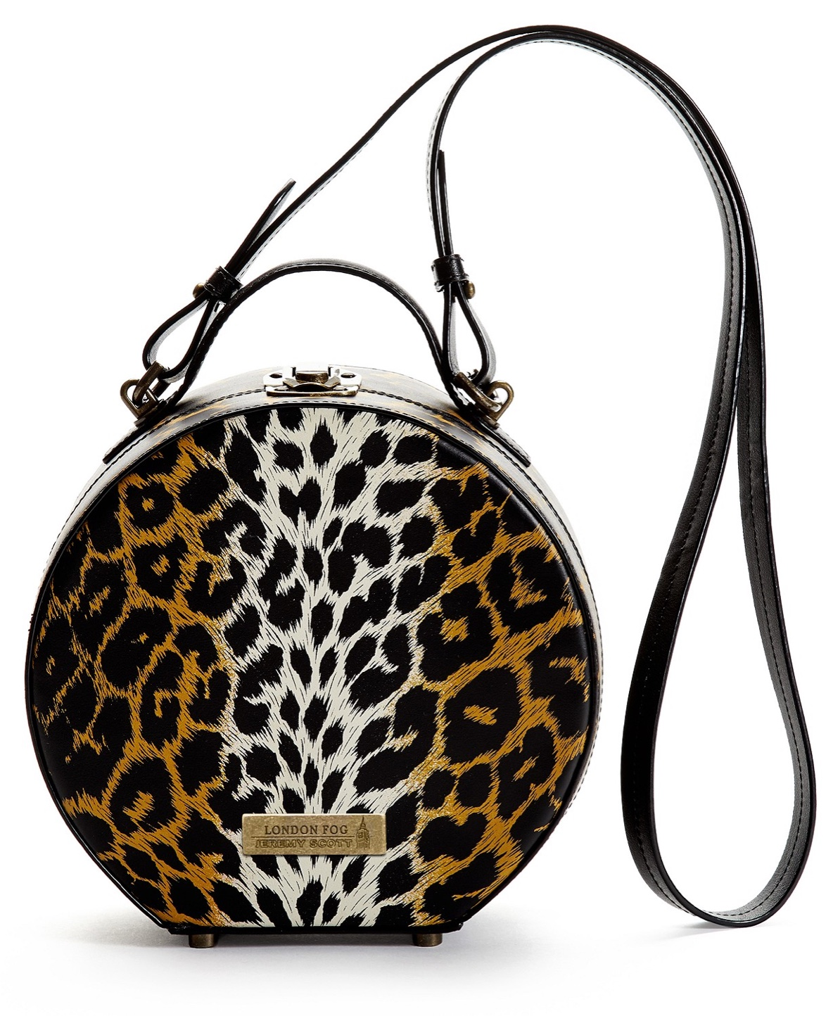 London Fog x Jeremy Scott Leather Hat Box Handbag $225