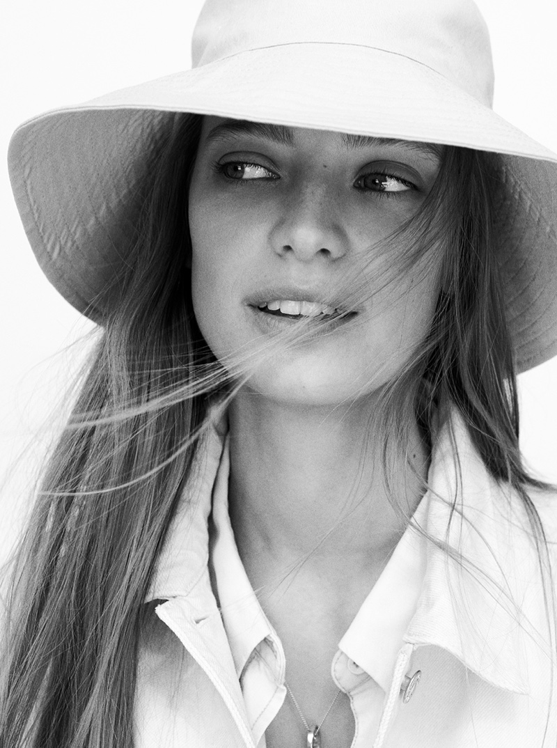 Ready for her closeup, Ine Neefs poses in black and white for Mango