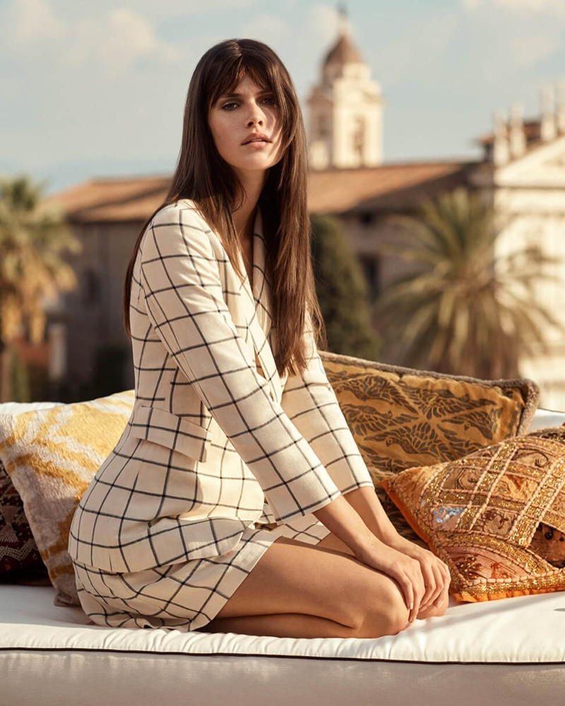 Vanessa Moody models check prints for Marella spring-summer 2019 campaign
