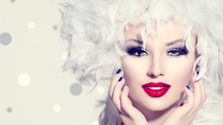 Model With Fashion Feathers Red Lipstick
