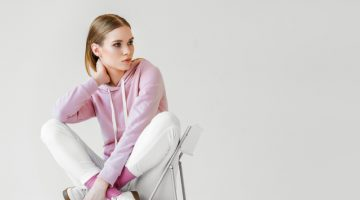 Model in Pink Hoodie Sweatshirt