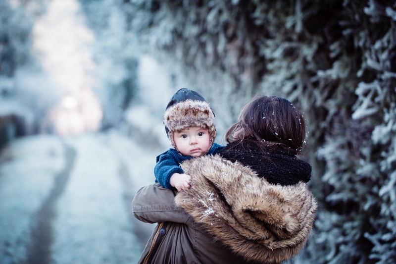 Mother & Baby Dressed in Winter Style